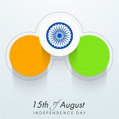 Stylish stickers in national tricolors with Asoka Wheel on grey background for 15th of August, India