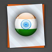 Glossy icon in Indian national flag colors with asoka wheel on grey and saffron color card for 15th