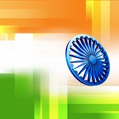 Poster, banner or flyer design with Asoka Wheel and creative national tricolors background for 15th