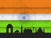 Indian monuments silhouette India Gate, Lotus Temple, Qutub Minar, Red Fort and Taj Mahal on national tricolors background.