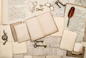 Antique Accessories And Office Tolls, Old Letters And Postcards
