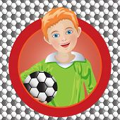 Boy soccer player on the background