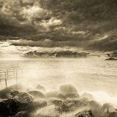 Storm above the ocean coast.