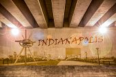 Indianapolis Graffiti Text And Skyline