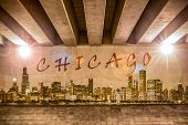 Chicago Graffiti Text And Skyline