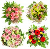 Bouquet Of Fresh Pink Roses, Orchid Flowers, Red Gerber