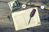 Antique Office Supplies And Writing Accessories On Wooden Background