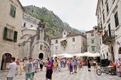 Kotor, Montenegro - July 9: Square And Church Of Saint Luke On July 9, 2014 In Kotor, Montenegro