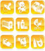 Icon set - baby goods, items. Illustration