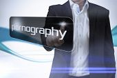 foto of immoral  - Businessman pointing to word pornography against abstract blue line son white background - JPG
