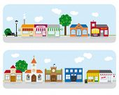 image of school building  - Village Main Street Neighborhood Vector Illustration 2 - JPG