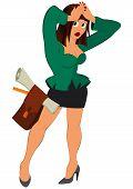 Cartoon Girl In Green Jacket Standing Holding Hands Up