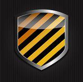 Protect  Shield on Black Background Vector Illustration