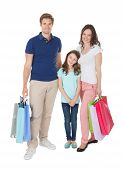 Portrait Of Smiling Family With Shopping Bags