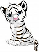 Illustration of cute white tiger