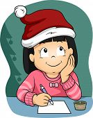 Illustration of a Little Girl  Wearing a Christmas Hat Writing Her Christmas Wish List
