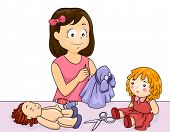 Illustration of a Girl Sewing Clothes for Her Dolls