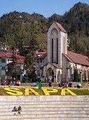 Catholic Church And Main Square, Sapa Town, Lao Cai, Vietnam