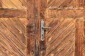 Old wooden door handle