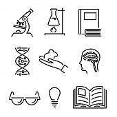 Modern Line Science Knowledge Study Icons and Symbols Set for Mobile Interface Isolated Vector Illus