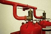 System Of A Gas Fire Extinguishing Vintage Background