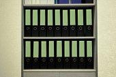Folders Standing On The Shelves Vintage Background