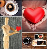 Collage of pictures with different hearts