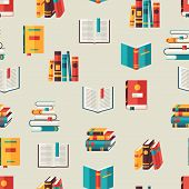 Seamless pattern with books in flat design style.