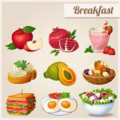 foto of pomegranate  - Set of different food icons - JPG