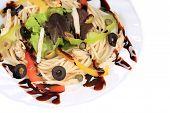 Seafood salad with spaghetti.