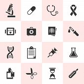 Set of black vector medical icons.