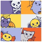 pic of kawaii  - Halloween kawaii greeting cards with cute doodles - JPG