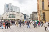 People Walking In The Hauptwache Plaza In Frankfurt