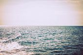 Sea Beach In The Morning. Konakli, Turkey, Mediterranean Sea. Toning In Vintage