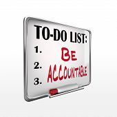 The Word Be Accountable On To-do List Whiteboard