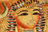 stock photo of cleopatra  - Face Cleopatra on the Egyptian papyrus close - JPG
