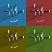 Color set heart rhythm. Flat modern web button with long shadow and space for your text
