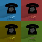 Color set Retro telephone. Flat modern web button with long shadow and space for your text