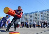 Nadym, Russia - May 17, 2008: Children's Competitions In Sport. Unknown Children Run On The Speed Wi