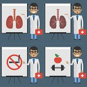 Adult doctor indicates on flipchart infographics