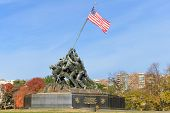 WASHINGTON, DC - NOVEMBER 12, 2013: Iwo Jima Memorial in Washington, DC. The Memorial honors the Marines who have died defending the US since 1775 and a prominent tourist attraction in Washington DC.