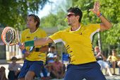 MOSCOW, RUSSIA - JULY 20, 2014: Marcus Ferreira (in front) and Vinicius Font of Brazil in the final