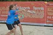 MOSCOW, RUSSIA - JULY 17, 2014: Women's double of Portugal on the training during the ITF Beach Tenn