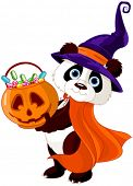 Illustration of cute costumed panda holds full of candy pumpkin
