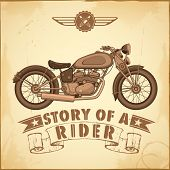 illustration of vintage motorcycle on retro background