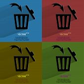 Color set Trash bin. Flat modern web button with long shadow and space for your text.