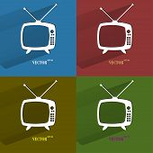 Color set Retro tv. Flat modern web button with long shadow and space for your text.