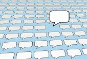 Speech Bubble Voice Talks Over Social Media Blue