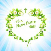 Easter festive background. Holiday illustration. Raster version.