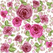 Fashion animal pattern and flowers. Roses on repeating leopard background. Raster version.